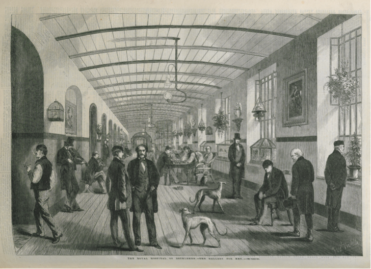 'The Royal Hospital of Bethlehem – The Gallery for Men' Source: George Augustus Sala, 'A Visit to the Royal Hospital of Bethlehem, The Illustrated London News, 1860, 1024, 304-305 & 308, 308. (With the permission of Cadbury Research Library, University of Birmingham.)